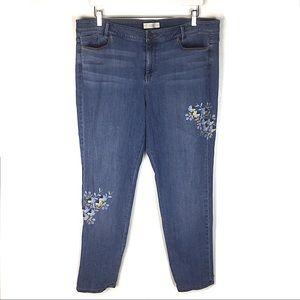 J.Jill Embroidered Weekender Straight Leg Jeans 16